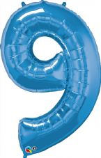 Number 9 Blue Super Shape Number Foil Balloon